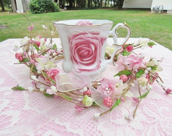 Pink Rose Fine China Teacup w/ Gold