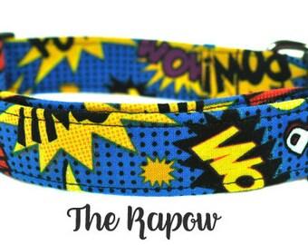 Navy, Yellow and Black Comic Dog Collar - The Kapow!