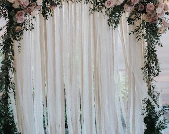 Cotton & Lace Wedding Backdrop - Pipe and Drape Backdrop