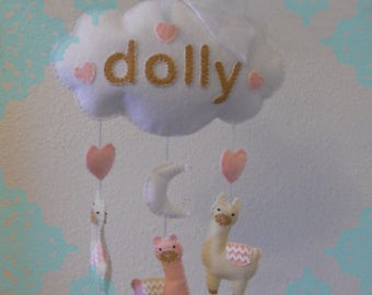 Customizable Felt Llama Sweet Dreams Baby Mobile- Pink, White and Cream