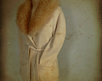 Vintage 1970s Cream Wool Wrap Cardigan, Shearling Collar
