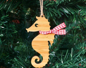 Seahorse Wooden Christmas Ornament Christmas Tree Decoration - Laser Cut Wood - Christmas Bauble