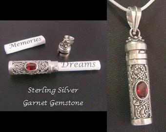 Balinese Dream Pendant Sterling Silver with Garnet Gemstone | Keepsake Jewelry, 925 Sterling Silver Pendant | Dream Pendant 08