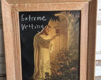 Altered Thrift Store Art - Message Board - Vintage Jesus Knocking Chalkboard