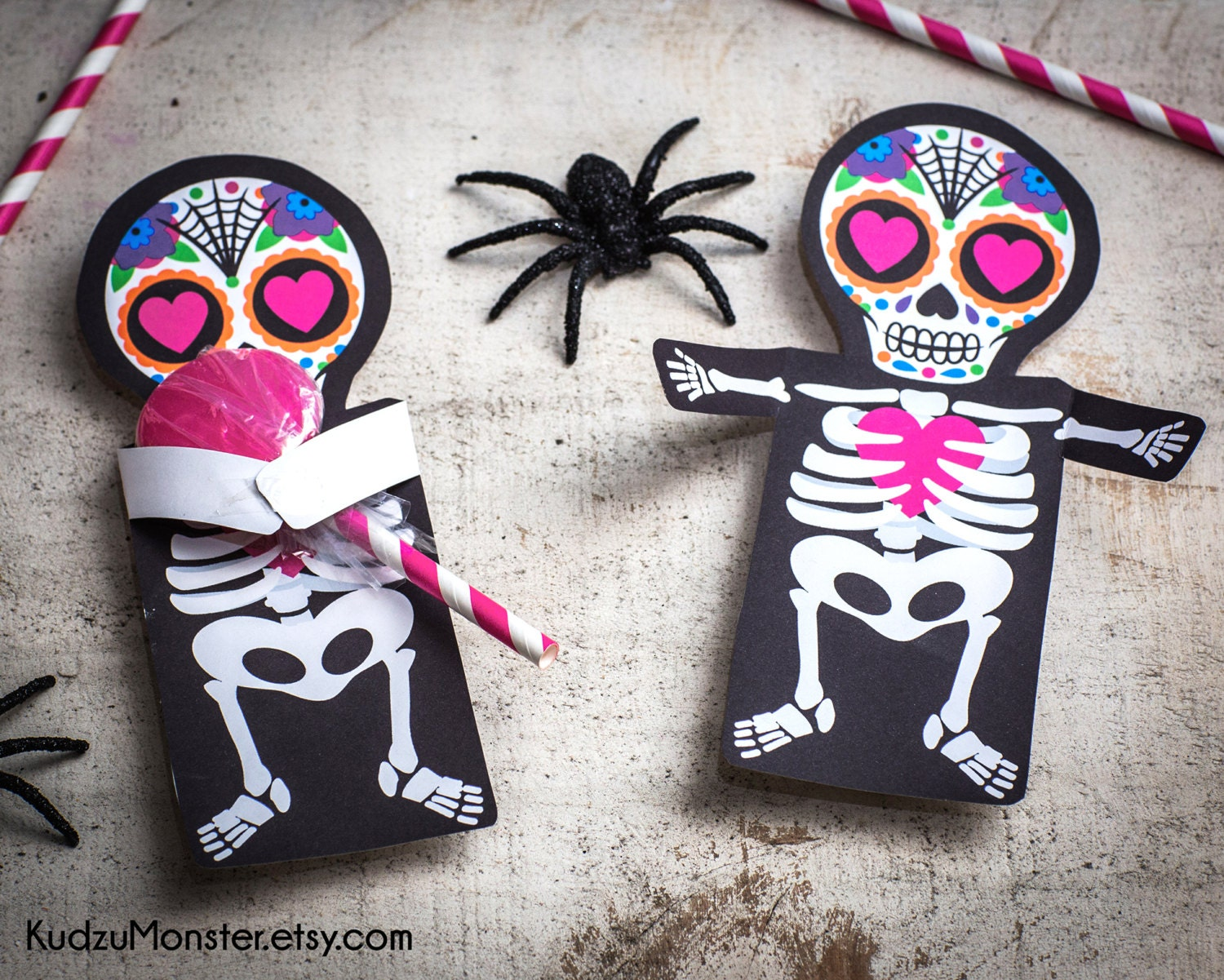 valentine Sugar Skull Day of the Dead printable coffin party