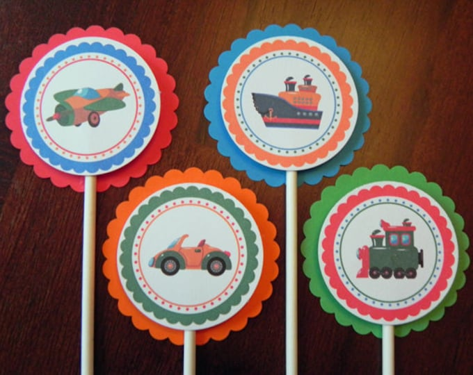 Cupcake Toppers: Boat, Car, Plane & Train Primary Colors- Baby Shower Decorations Birthday Party Boy
