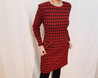 80s Red Plaid Dress by All that Jazz.  Pockets. Long Sleeves. Size medium.