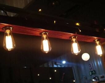 Wood beam pendant lamp