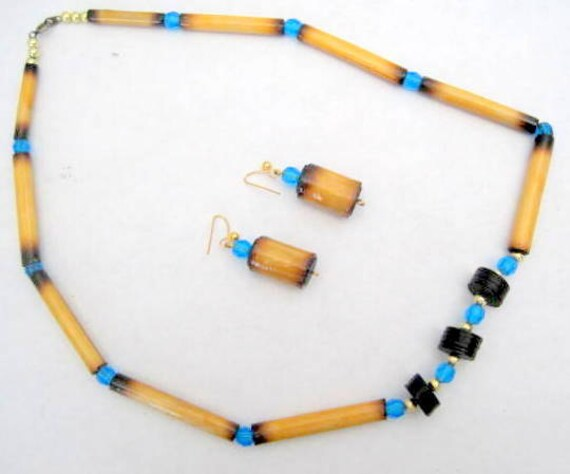 Bamboo Aqua Bead Necklace, Black Spacer, Vintage Choker