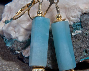 Amazonite pendant earrings with elements of gold-plated 925 silver