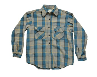 Vintage 1960s Five Brother Flannel Shirt // M // Union Made // Blue // Yellow // Workwear // Thick // Heavy // Plaid //