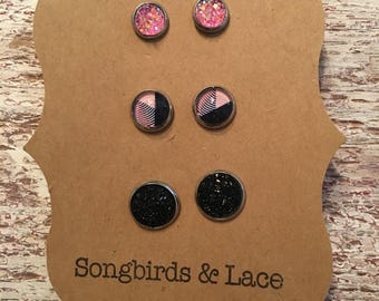 Black and pink earring set