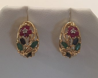 Vintage 10K Yellow Gold Ruby Emerald Sapphire Floral Earrings, flowers with center Diamonds and Emerald leaves