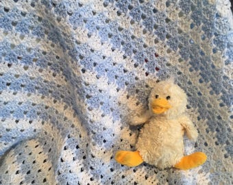 Crochet Baby Blanket - Blue and whites baby afghan