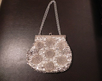 Pretty Vintage Silver Beaded and Sequined Formal Purse Shoulder Bag