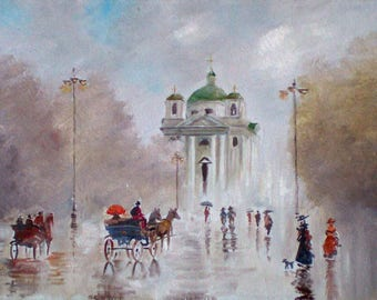 the painting depicts the church of St. John the Baptist in the city of Belaya Tcerkov Ukraine in retro style.