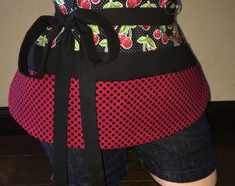 Red and Black Cherry Half Waist Pocket Apron