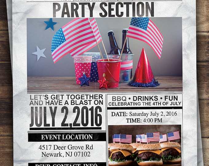 Any theme, Newspaper invitation, BBQ, Birthday, baby shower, school event, 4th of July, Christmas party, Labor Day sale, invite