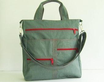 Sale - Grey Water-Resistant Nylon Bag, tote, handbag, shoulder bag, crossbody bag, messenger, tote, school bag - Melissa