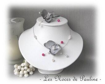 Bridal gray, white and fuchsia Emilie v2 child jewelry, bridesmaid