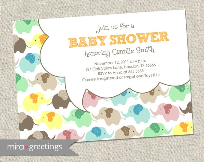 Elephant Baby Shower Invitation - Printable Digital File
