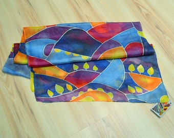 ABSTRACT COLOURFUL Silk Scarf, Hand painted, Size 180x45cm, 71''x18''