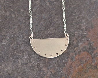 Silver Semi Circle Necklace, Unique Handmade Minimalist Geometric Sterling Silver Jewellery