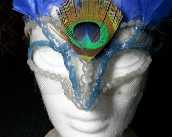 blue and silver half mask