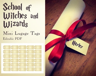 Harry Potter inspired School of witches and wizards - Mini Luggage Tags