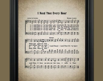 I Need Thee Every Hour Hymn Print - Hymnal Art - Sheet Music- Home Decor - Inspirational Art - Gift - Instant Download - #HYMN-045
