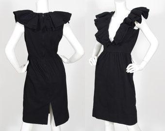 1980er Jahre Vintage stürzen Hals dramatische Rüschen Kragen schwarz Baumwolle Kleid Sz XS S