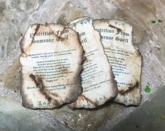 Aged PROTECTION FROM SOMEONE Spell Sheet Dollhouse Miniature Halloween Accessory Fairy Garden Witch Wizard