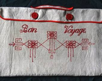 Vintage travel bag for clothing, linen embroidered.