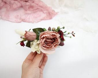 Dusty rose bridal flower hair comb with berries, wedding floral headpiece, bridesmaid hair accessories, boho pink hair piece bohemian 1150