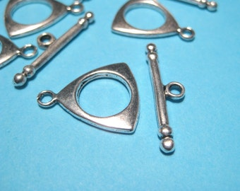 10 Sets Antique Silver Triangle Toggle Clasp Jewelry Supplies