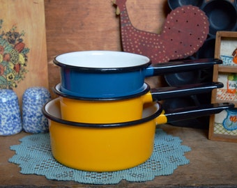 Vintage Set of 3 Bright Yellow and Blue Enamel Pot Camping Enamelware Camp Fire Saucepan Kitchen Retro Decor