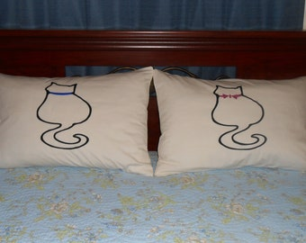 Kitty Cats Hand Painted on Standard, Couples Pillowcases for Bedroom Decor