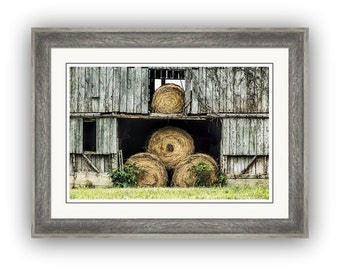 Hay Bales in Old Weathered Barn Door and Loft Rustic Architecture Rural Scenic Countryside North Carolina Fine Art Photography Print