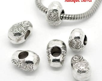 Set of 2 Metal Silver aged pr CHARMS Russian doll beads
