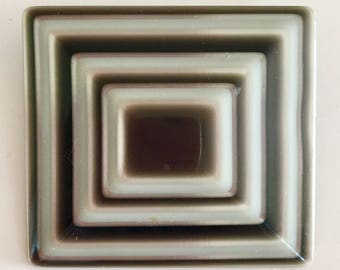 Vintage Lea Stein brooch black and white plastic square