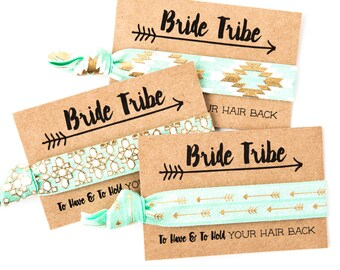 Mint Bride Tribe Hair Tie Favors | Mint + Gold Aztec Tribal Bachelorette Hair Ties, Boho Bachelorette Hair Tie Favor, Bohemian Aztec Print