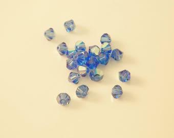 Set of 21 x AB 4 mm (l498) Sapphire swarovski crystal bicone bead