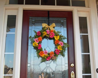 Beautiful Spring Wreaths For Front Door Gerber Daisy Wreath Spring Wreath Daisy Wreath
