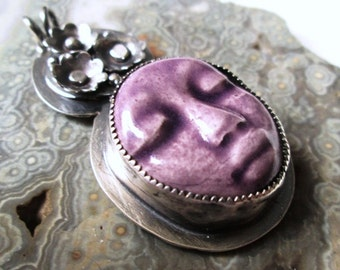 Purple Face Pendant with Floral Hat in Sterling Silver Necklace Jewelry