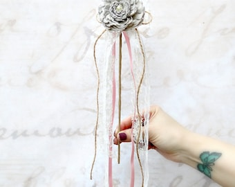 Grey Flower Girl's Wand // Flower Girl, Girls, Floral Wand, Wedding Accessory, Sola Flower, Wedding Flowers, Bridal Flower, Single Flower