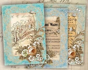 Künstlerische Papier - digitale Collage Blatt - Set von 4 Postkarten - Druckversion herunterladen