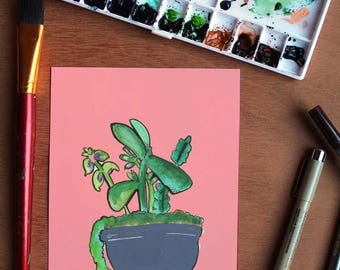 Succulent I - Illustration, Home Decor, Office Decor, Nature, Plants
