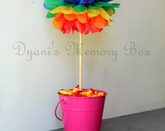 Rainbow Tissue Paper Pom Poms with Wood Dowel / Wedding Poms / Birthday Decor