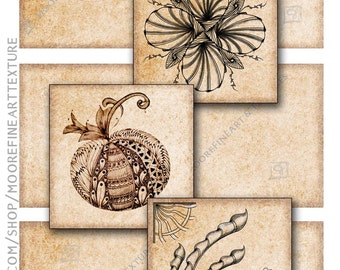 BROWN PAPER ZENTANGLE Tiles - Printable Download Collage Sheet 6 Digital Cards 3.5x3.5 inches