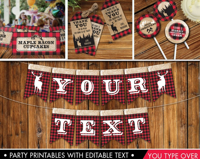 Plaid Christmas Decor - Flannel Party,Rustic Christmas Party, Lumberjack | Editable Text - DIY Instant Download PDF Printable